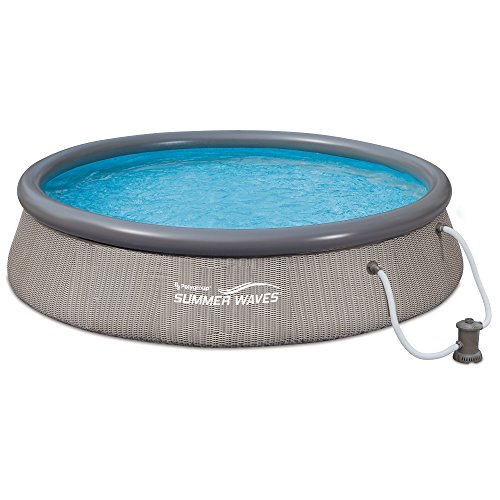 Summer Waves 12' x 36'' Quick Set Ring Above Ground Pool with Pump, Gray Wicker by Summer Waves