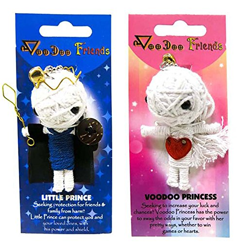 - FROG SAC Voodoo Dolls Set of 2 - Yarn String Doll Great as Keychain, Charm for Purse, Backpacks, Office Accessories - Great Gifts (Prince & Princess)