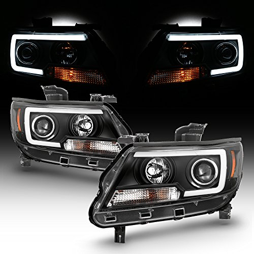 For 2015-2018 Chevy Colorado Full LED Daytime Running Lamp Bar Projector Headlights Black Housing Clear Lens Set ()