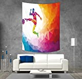 Polyester Tapestry Wall Hanging,Teen Room Decor,Fractal Soccer Player Hitting the Ball Polygon Abstract Artful Illustration Decorative,Multicolor,Wall Decor for Bedroom Living Room Dorm