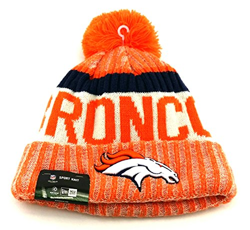 New Era Knit Denver Broncos Black On Field Sideline Winter Stocking Beanie Pom Hat Cap 2015 New Era Winter