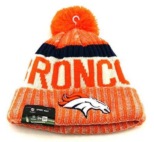 ファイバロックダーベビルのテスNew EraニットDenver Broncosブラックonフィールドサイドライン冬ストッキングビーニーポンポン付き帽子キャップ2015