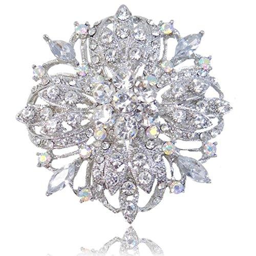 Ab Rhinestone Brooch (EVER FAITH Silver-Tone Bridal Flower Pattern Clear w/ Iridescent Clear AB Brooch Pendant)