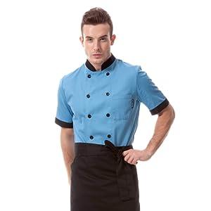 Veste de chef cuisinier manches courtes homme bleu gris et rouge