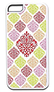 06-Large and Small Damasks-Pattern- Case for the APPLE IPHONE 5 ONLY!!! NOT COMPATIBLE WITH THE IPHONE 6 (4.5)!!!-Hard White Plastic Outer Case with Tough Black Rubber Lining