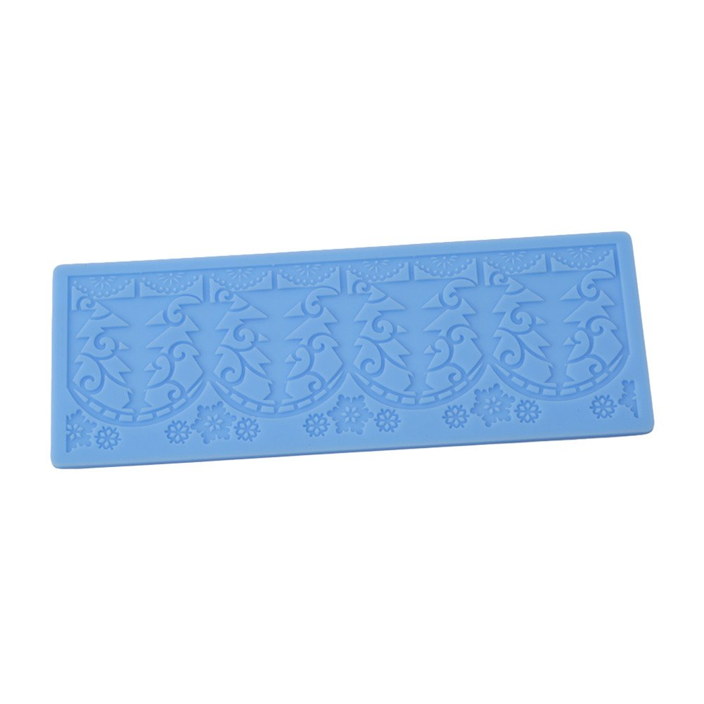 Gluckliy Christmas Flower Lace Silicone Mold Mould Fondant Sugarcraft Cake Decoration Kitchen Accessories Bakeware Baking Tool, Blue fangqiang