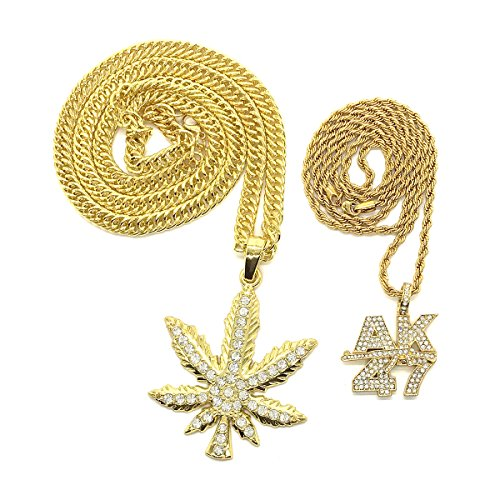 2pcs Marijuana Leaf Big Pendant Necklace Chain 35.4in And AK47 Gun Gold Plated Hiphop Jewelry - Gold Marijuana