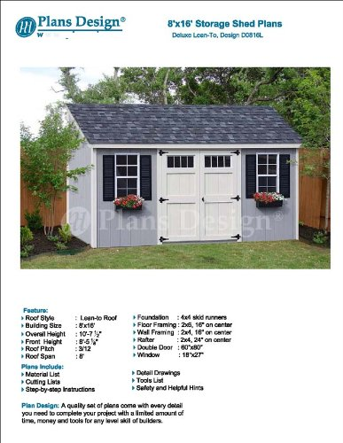 8' x 16' Deluxe Lean-To Utility Garden Design # D0816L, Material List and Step By Step Included