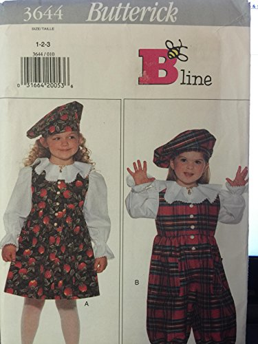 Butterick 3644 Toddler Jumper, Jumpsuit, Blouse and Beret Sizes 1-2-3