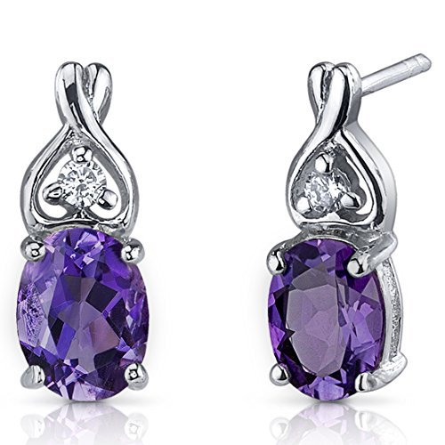 Amethyst Earrings Sterling Silver Rhodium Nickel Finish 2.00 Carats Classic Style by Peora