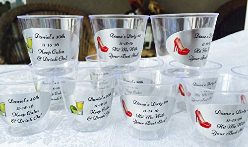 (50 PERSONALIZED 1oz. PLASTIC SHOT Cups for Men/Women Birthday Party/Event, SILVER FOIL DECORATION, Disposable cups makes great bar favors or supply!)