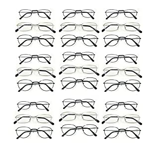 { You Will Get 24 Pairs of Strength +1.50 METAL Frame With 3 Unique Styles in just as in picture } Men Women Unisex Black & Silver Frame Optical Reading Glasses Readers at Wholesale Lot