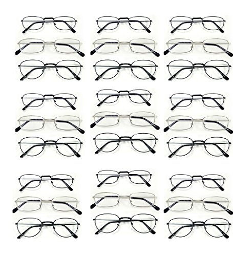 { You Will Get 24 Pairs of Strength +1.50 METAL Frame With 3 Unique Styles in just as in picture } Men Women Unisex Black & Silver Frame Optical Reading - Wholesale Glass Frames