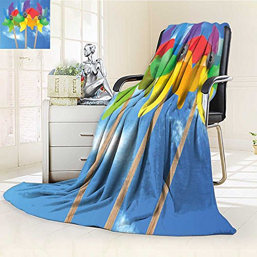 Pearl Pinwheel - YOYI-HOME Supersoft Fleece Throw Duplex Printed Blanket Pinwheel Kids Play Toys Sunny Day Vacation Fun Outdoor Activities Blue Purple Red Anti-Static,2 Ply Thick,Hypoallergenic/W59 x H86.5