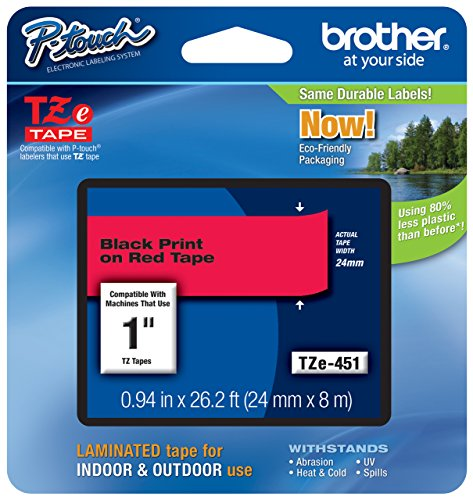 Brother Genuine P-Touch TZE-451 Tape, 1 (24 mm) Standard Laminated P-Touch Tape, Black on Red, For Indoor or Outdoor Use, Water-Resistant, 26.2 ft (8 m), Single-Pack