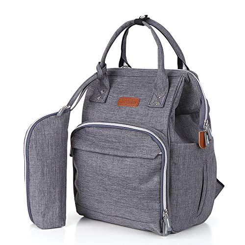 esonmus Diaper Bags Backpack Unisex Large Oxford Cloth Insulated Mommy Backpack Wear-Resistant Baby Clothes Diaper Nappy Milk Bottle Bag Travelling Backpack with Stroller Hooks-Grey