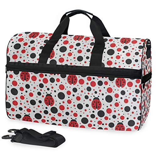 Gym Bag Cartoon Ladybug Polka Dots Duffle Bag Large Sport Casual Fashion Bag for Men Women
