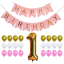 First Birthday Decoration Set, Perfect for 1st Bday Party, Pastel and Gold Foiled Happy Birthday Bunting Banner Pink Sign ,Gold Number One Balloon, Gold Pink White Balloons Set