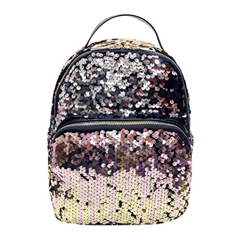 Sagton Women Sequins Durable Travel Satchel School Book Bag Chic Daypack (Pink)