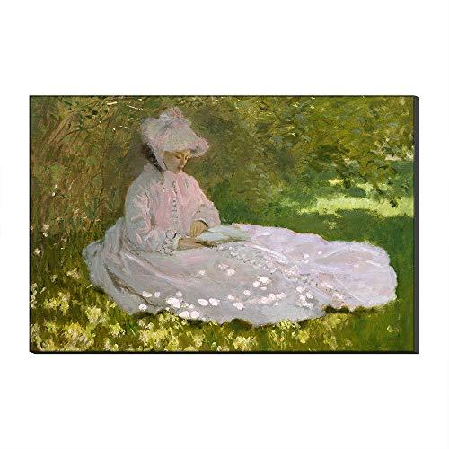 Five-Seller Mujer En El Prado, Primavera por Claude Monet Lienzo Cuadros Famosos Reproduccion De Arte Impreso En Lienzo Arte De Pared Arte para Decoraciones para El Hogar (70_x_100_cm)