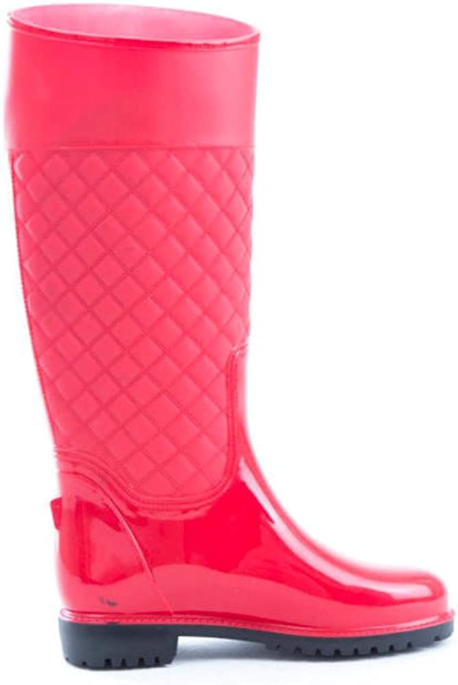 Soho Shoes Women's Kneee High Quilted Rubber Waterproof Rain Boots