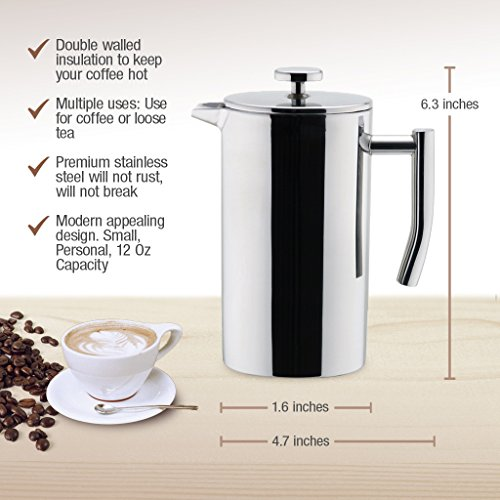 Coffee Maker Keeps Coffee Hot : MIRA Double Walled Tea & Coffee French Press Stainless Steel Insulated Coffee Brewer Pot ...