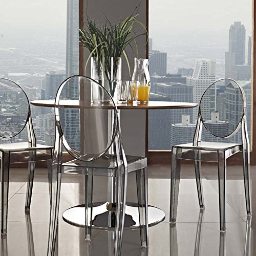 Modway Casper Modern Acrylic Stacking Two Kitchen and Dining Room Chairs in Smoke - Fully Assembled -  EEI-906-SMK