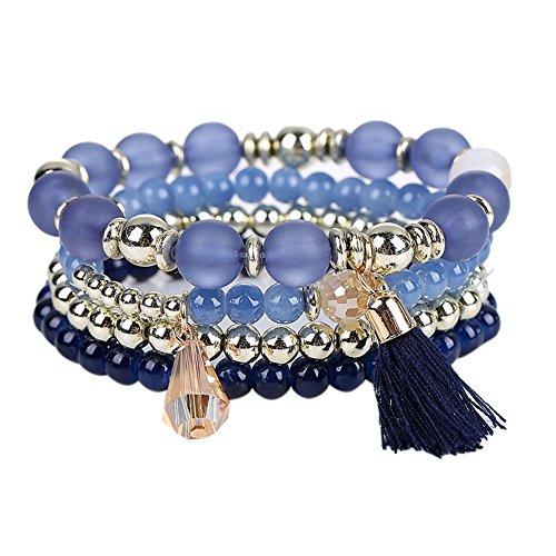 HighPlus Bohemia Style Multilayer Bracelet Beads with Tassel Coin Pendant Bracelets Stacks Set (Blue)