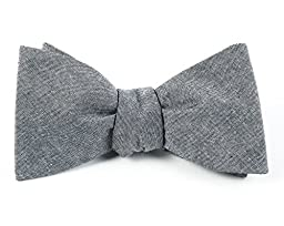 100% Cotton Soft Gray Classic Chambray Self-Tie Bow Tie