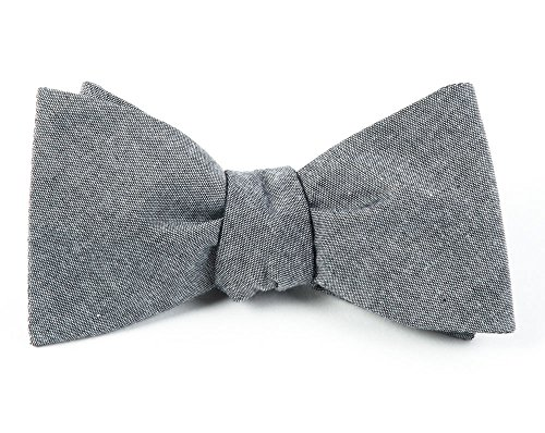 The Tie Bar 100% Cotton Soft Gray Classic Chambray Self-Tie Bow Tie