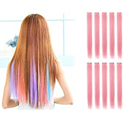 OneDor 23 Inch Colored Party Highlights Straight Hair Clip Extensions. Heat-Resistant Synthetic Hair Extensions in Multiple Colors (10 Pcs Light Pink)