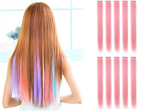 OneDor 23 Inch Straight Colored Party Highlight Clip on in Hair Extensions Multiple Colors (10 Pcs Light Pink)