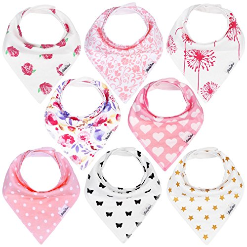 KiddyStar Bandana Baby Drool Bibs for Girls, 8-Pack Bib Set