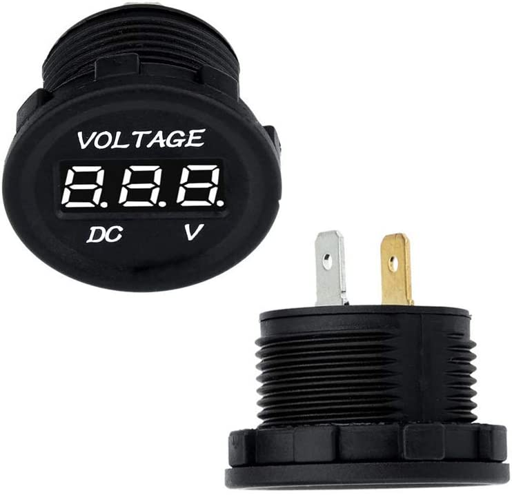 Red Haitech Universal Voltage Monitor LED Digital Display Voltmeter DC12-24V for Car Motorcycle Truck Boat Marine Vehicle