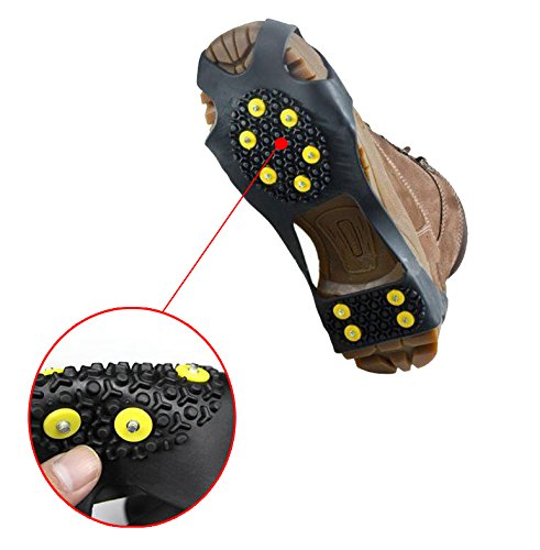 (2 Pieces) Leebei Non-slip shoe cover Ice Snow Grips Over Shoe Boot Traction Cleat Rubber Spikes Anti Slip Mountaineering Non-slip Shoe Cover 10-Stud Slip-on Stretch Footwear (Yellow, Large) by Leebei (Image #3)