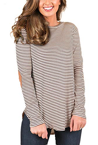 Patch Long Sleeve Tee - Blooming Jelly Womens Black and White Striped T Shirts Long Sleeve Elbow Patch High Low Casual Tunic Tops (Small, Brown)