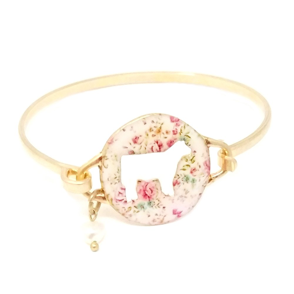 Emulily Floral Cow Cutout Bangle Bar Wire Bracelet with Pearl Charm