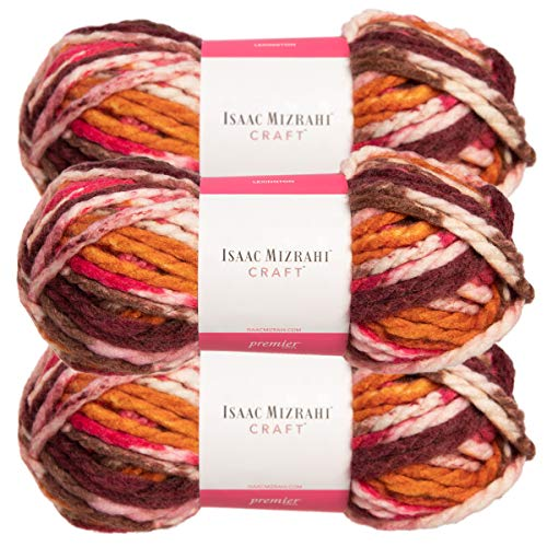 Premier Yarns (3 Pack Isaac Mizrahi Lexington Acrylic & Wool Soft Gramercy Park Pink Orange White Yarn for Knitting Crocheting #6 Super Bulky ()