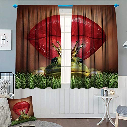 Anhounine Animal,Blackout Curtain,Lady Finds Her Frog Prince Soul Mate in Love Valentines Romance Fairy Tale Art,Patterned Drape for Glass Door,Green Red Yellow,W72 x L45 (Soul Mate Glass Block)