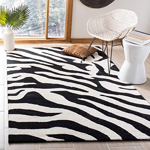 Rug Wool Zebra - Safavieh Soho Collection SOH717A Handmade White and Black Premium Wool Area Rug (5' x 8')