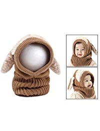 OFKPO Baby Toddler Knitted Winter Hat Scarf Set Warm Cap with Scarves Caps Ears For Kids 6-36 Months (Brown)