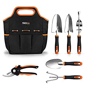 TACKLIFE Garden Tools Set, 7 Piece Stainless Steel Heavy Duty Gardening kit with Soft Rubberized Non-Slip Handle -Durable Storage Tote Bag and Pruning Shears - Garden Gifts for Men & Women GGT4A