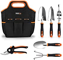 Garden Tools Set, 7 Piece Stainless Steel Heavy Duty Gardening kit with Soft Rubberized Non-Slip Handle -Durable Storage Tote Bag and Pruning Shears - Garden Gifts for Men GGT4A
