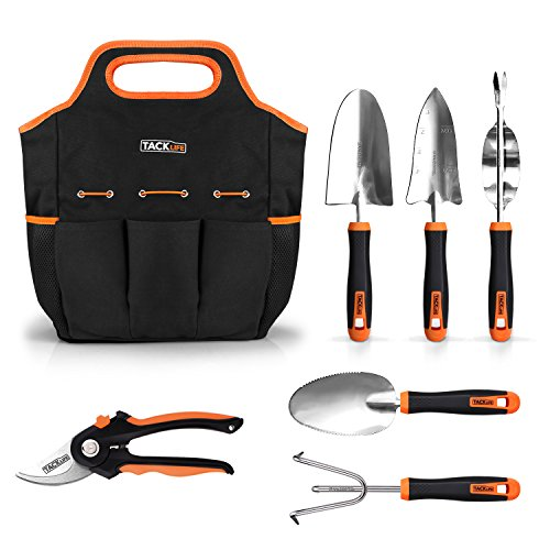 TACKLIFE Garden Tools Set, 7 Piece Stainless Steel Heavy Duty Gardening kit with Soft Rubberized Non-Slip Handle -Durable Storage Tote Bag and Pruning Shears - Garden Gifts for Men & Women - Precision Piece 7 Set