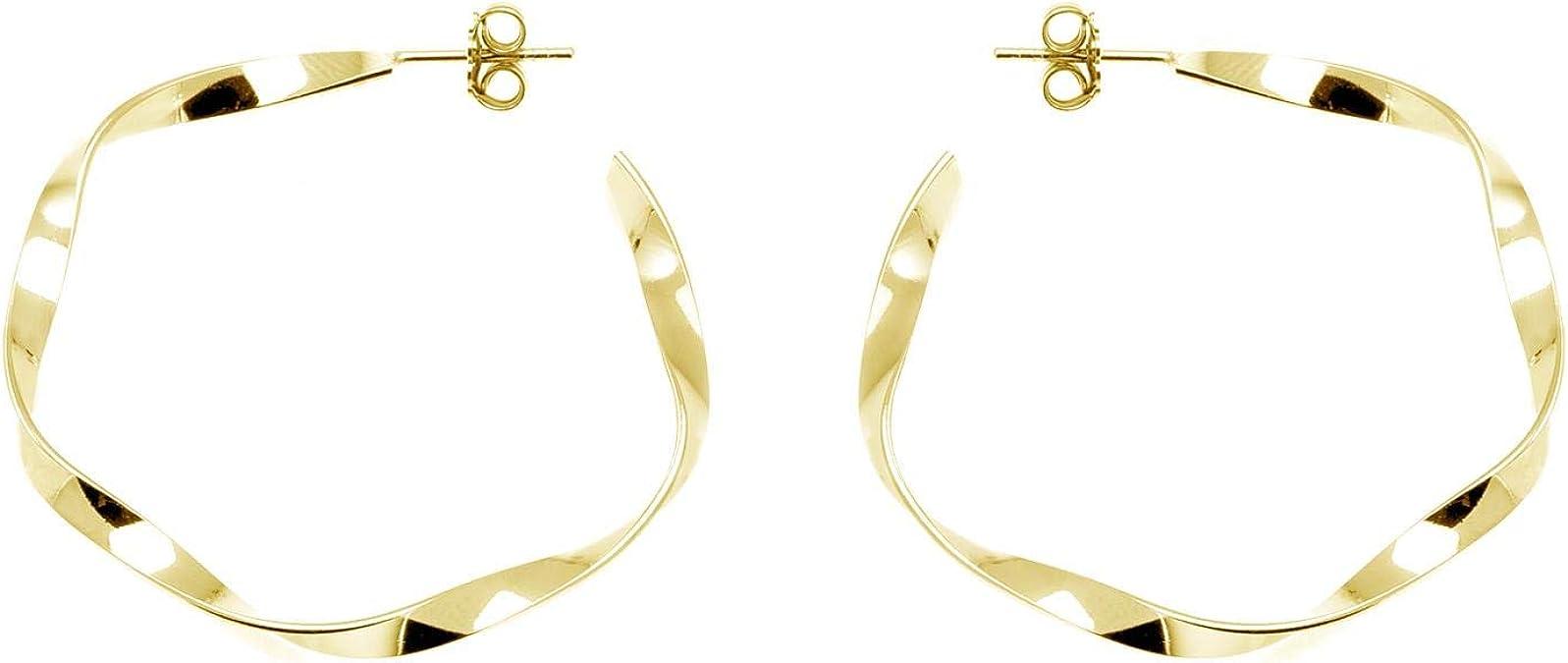 Damen Creolen Ohrringe verschlungen 925 Sterling Silber bicolor vergoldet