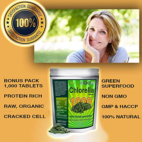Chlorella Tablets Mega-Pack 1000 Tablets Cracked Cell, Raw, Non-GMO. 100% Pure Chlorella Pyrensoidosa. Green Superfood. High Protein, Chlorophyll & Nucleic acids. No preservatives or fillers