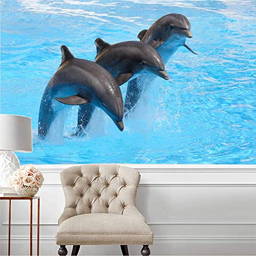 Dolphin Wallpaper Mural - Eliteart-Leaping Dolphins Modern Home Decoration Self-Adhesive Wallpaper Mural Series