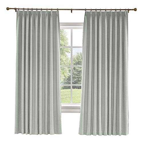 CosyPages Pinch Pleated, 72W x 102L(1 Panel) Luxury Linen Polyester Window Drapery Curtain, Blackout Curtain, Fog, Curtain for Sliding Glass Door Patio Door Living -