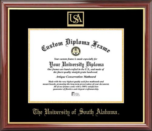 Laminated Visuals University of South Alabama Jaguars - Embossed Seal - Mahogany Gold Trim - Diploma Frame