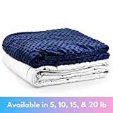 """Roore 5 lb Children's (for 40 to 60 lb child) 36""""x48"""" Navy Blue and Gray Weighted Blanket with Dotted Minkey Cover. Perfect for Kids Boys and Girls"""